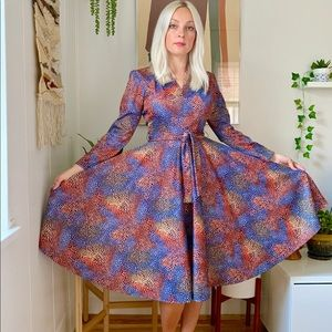Vintage 70s psychedelic all over print dress S